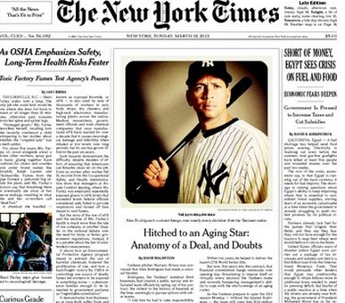 Portrait of ARod taken using an iPhone and Instagram on the front page of The New York Times March 31, 2013.